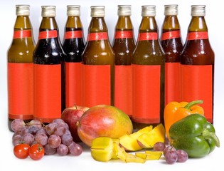 Bottles with juice and fresh fruit, vegetables