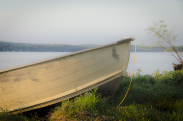 small boat on shore