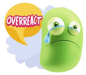 3d Illustration Sad Character Emoji Expression saying Overreact