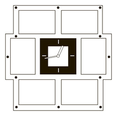 Wall clock with six frame