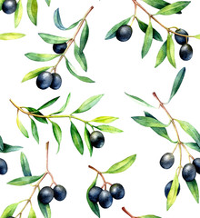 Seamless pattern with olive branches. Hand drawn watercolor illustration.