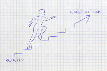 reality or expectations, man climbing stairs metaphor