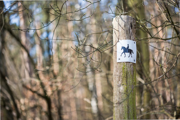 small sign with silhouette of horse rider on wooden pole at the beginning of a forest track