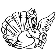 outline coloring cartoon turkey with a smile on white background