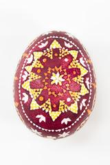 isolated Sorbian painted easter egg on white background, freigestelltes sorbisches Osterei vor weißem Hintergrund