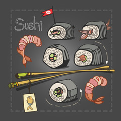 Sushi set with chopsticks on grey graphite background. Asian food. Vector illustration.