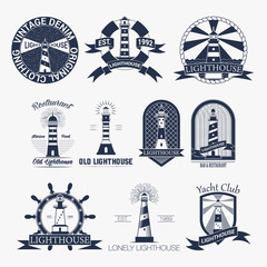 Set of lighthouses label,logo or badge template. Vector illustration.