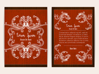 Cover design with floral ornamental frame. Retro style. Brochure, flyer, invitation or certificate. Size a4. Vector illustration, eps10.