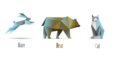 Vector polygonal illustration of animals cat, bear, hare, modern low poly icons, origami style isolated