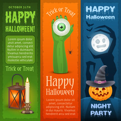 Happy Halloween three vertical banners