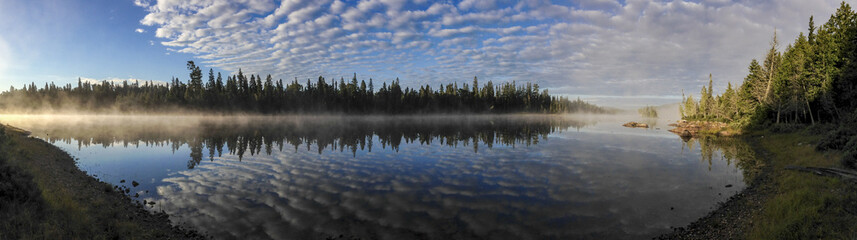 morning lakeside panorama