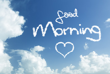 Good Morning written in the sky