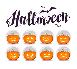 Vector flat halloween card, advertisement, banner, poster, placard, party invitation, flayer design element.