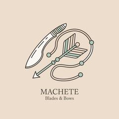 Logo with machetes and arrow.
