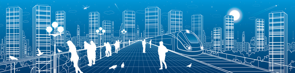 City life amazing panorama. People walking on the bridge, night megalopolis, train move, infrastructure and transportation illustration, urban skyline, vector design art