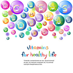 Vitamins Nutrient Minerals Colorful Banner Healthy Life Nutrition Chemistry Element Concept