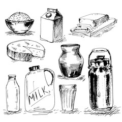Set of milk products