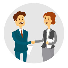 Business people shaking hands, finishing up a meeting.Vector illustration