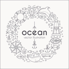 Vector illustration with outlined nautical signs and marine animals