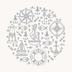 Vector illustration with outlined seafaring and nautical signs