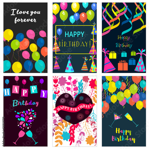 """""""birthday Vector Banners Set.brochure With Typography"""