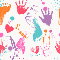 Vector seamless pattern with human footprints and palm prints
