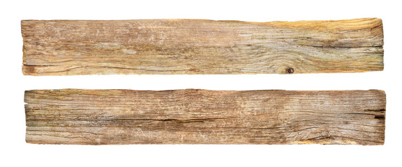 empty rustic wooden sign on white background. Wall mural
