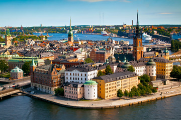 Poster de jardin Stockholm Cityscape of Stockholm. Panorama view of historical part of Stockholm in Sweden