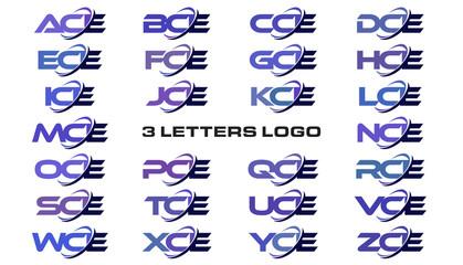 3 letters modern generic swoosh logo ACE, BCE, CCE, DCE, ECE, FCE, GCE, HCE, ICE, JCE, KCE, LCE, MCE, NCE, OCE, PCE, QCE, RCE, SCE, TCE, UCE, VCE, WCE, XCE, YCE, ZCE