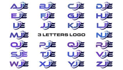 3 letters modern generic swoosh logo AJE, BJE, CJE, DJE, EJE, FJE, GJE, HJE, IJE, JJE, KJE, LJE, MJE, NJE, OJE, PJE, QJE, RJE, SJE, TJE, UJE, VJE, WJE, XJE, YJE, ZJE
