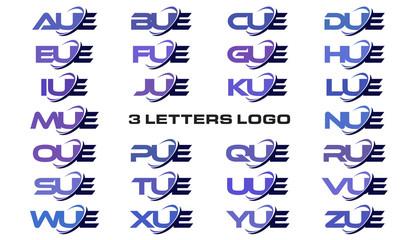 3 letters modern generic swoosh logo AUE, BUE, CUE, DUE, EUE, FUE, GUE, HUE, IUE, JUE, KUE, LUE, MUE, NUE, OUE, PUE, QUE, RUE, SUE, TUE, UUE, VUE, WUE, XUE, YUE, ZUE