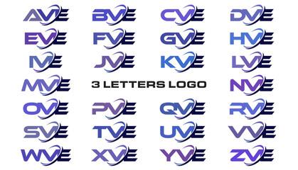 3 letters modern generic swoosh logo AVE, BVE, CVE, DVE, EVE, FVE, GVE, HVE, IVE, JVE, KVE, LVE, MVE, NVE, OVE, PVE, QVE, RVE, SVE, TVE, UVE, VVE, WVE, XVE, YVE, ZVE