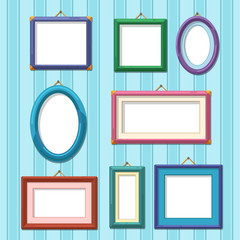 Picture frames on wall. Flat photo frame set