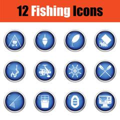 Fishing icon set.