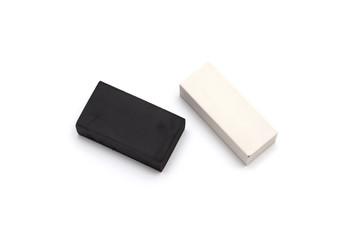 black and white eraser isolated on white background