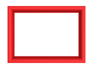 Red picture frame isolated on white background. 3D illustration.