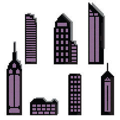 Set of pixel buildings