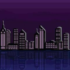 Illustration of pixel city