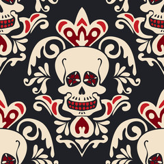 Victorian Gothic skull vector Damask Pattern.