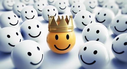 Gelber Smiley mit Krone 1
