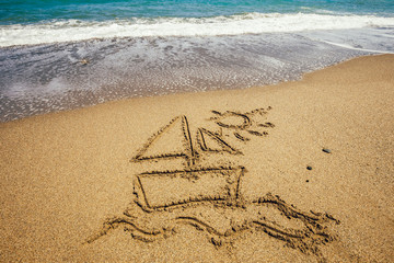 Ship painted on sand beach