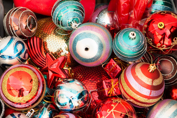 Many Christmas ornamets for tree decorations