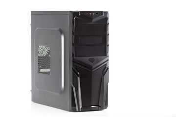 Desktop computer tower case isolated on white background