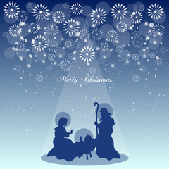 Background with a Nativity Scene and Christmas Greetings