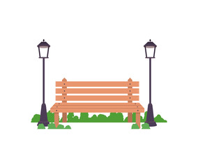 Bench with lamps icon. Good day in the park theme. Colorful design. Vector illustration