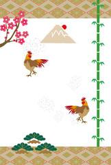 ニワトリと松竹梅と富士山の和風イラストeps素材年賀状テンプレート酉年