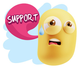 3d Rendering Sad Character Emoticon Expression saying Support wi