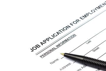 Job application and pen
