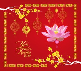 Happy Chinese new year 2017 card, Lotus lantern