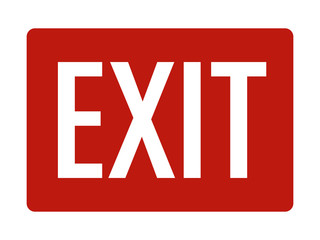 Red exit sign with text flat vector icon for print Wall mural